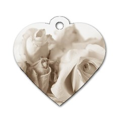 Vintage Rose Shabby Chic Background Dog Tag Heart (one Side)