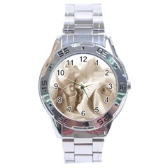 Vintage Rose Shabby Chic Background Stainless Steel Analogue Watch