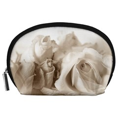Vintage Rose Shabby Chic Background Accessory Pouches (large)