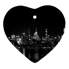 New York Skyline Heart Ornament (two Sides)
