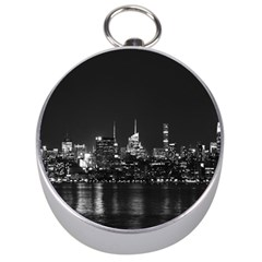 New York Skyline Silver Compasses