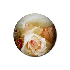 Roses Vintage Playful Romantic Rubber Coaster (round)