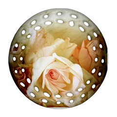 Roses Vintage Playful Romantic Round Filigree Ornament (two Sides)