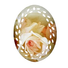 Roses Vintage Playful Romantic Oval Filigree Ornament (two Sides)