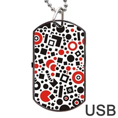 Square Objects Future Modern Dog Tag Usb Flash (two Sides)