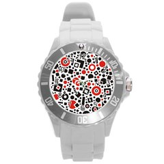 Square Objects Future Modern Round Plastic Sport Watch (l)