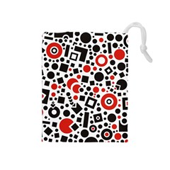Square Objects Future Modern Drawstring Pouches (medium)