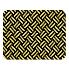 Woven2 Black Marble & Yellow Watercolor (r) Double Sided Flano Blanket (large)