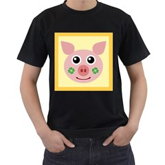 Luck Lucky Pig Pig Lucky Charm Men s T Shirt (black) (two Sided)