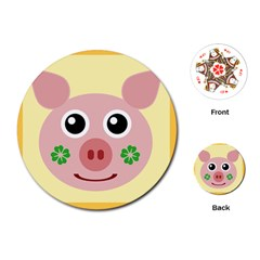 Luck Lucky Pig Pig Lucky Charm Playing Cards (round)