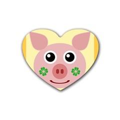 Luck Lucky Pig Pig Lucky Charm Heart Coaster (4 Pack)