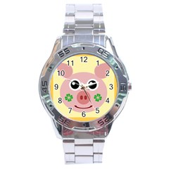 Luck Lucky Pig Pig Lucky Charm Stainless Steel Analogue Watch