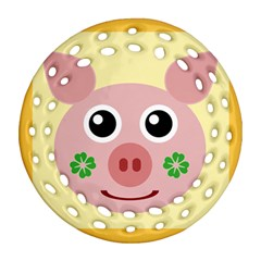 Luck Lucky Pig Pig Lucky Charm Ornament (round Filigree)