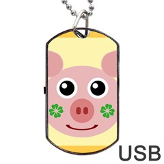 Luck Lucky Pig Pig Lucky Charm Dog Tag Usb Flash (one Side)