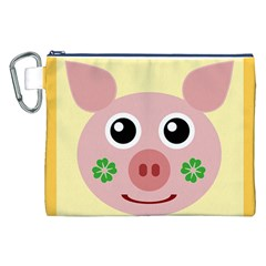 Luck Lucky Pig Pig Lucky Charm Canvas Cosmetic Bag (xxl)