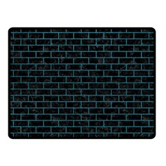 Brick1 Black Marble & Teal Leather (r) Double Sided Fleece Blanket (small)