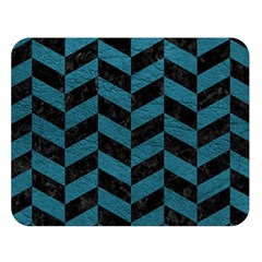 Chevron1 Black Marble & Teal Leather Double Sided Flano Blanket (large)