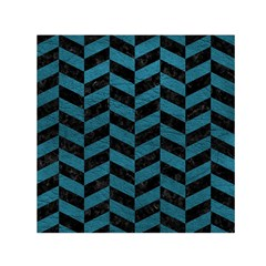 Chevron1 Black Marble & Teal Leather Small Satin Scarf (square)