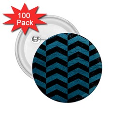Chevron2 Black Marble & Teal Leather 2 25  Buttons (100 Pack)