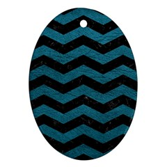 Chevron3 Black Marble & Teal Leather Oval Ornament (two Sides)
