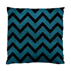 Chevron9 Black Marble & Teal Leather Standard Cushion Case (two Sides)
