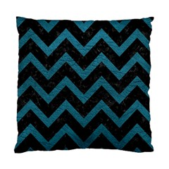 Chevron9 Black Marble & Teal Leather (r) Standard Cushion Case (one Side)