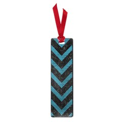 Chevron9 Black Marble & Teal Leather (r) Small Book Marks