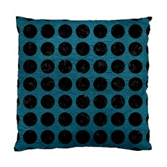 Circles1 Black Marble & Teal Leather Standard Cushion Case (two Sides)