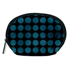 Circles1 Black Marble & Teal Leather (r) Accessory Pouches (medium)