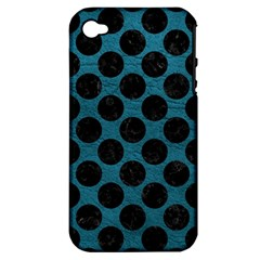 Circles2 Black Marble & Teal Leather Apple Iphone 4/4s Hardshell Case (pc+silicone)