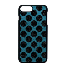 Circles2 Black Marble & Teal Leather Apple Iphone 8 Plus Seamless Case (black)
