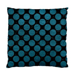 Circles2 Black Marble & Teal Leather (r) Standard Cushion Case (one Side)