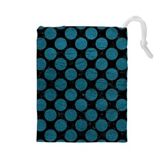 Circles2 Black Marble & Teal Leather (r) Drawstring Pouches (large)