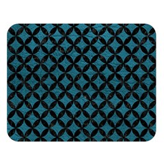 Circles3 Black Marble & Teal Leather Double Sided Flano Blanket (large)