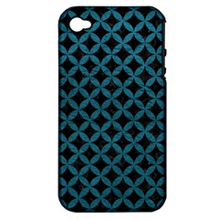 Circles3 Black Marble & Teal Leather (r) Apple Iphone 4/4s Hardshell Case (pc+silicone)