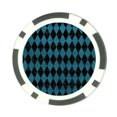 Diamond1 Black Marble & Teal Leather Poker Chip Card Guard (10 Pack)