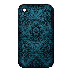 Damask1 Black Marble & Teal Leather Iphone 3s/3gs