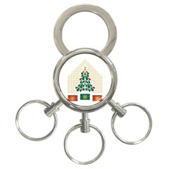 Christmas Tree Present House Star 3 Ring Key Chains
