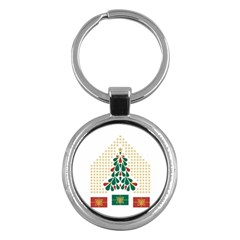 Christmas Tree Present House Star Key Chains (round)