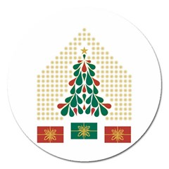 Christmas Tree Present House Star Magnet 5  (round)