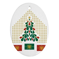 Christmas Tree Present House Star Oval Ornament (two Sides)