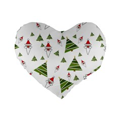 Christmas Santa Claus Decoration Standard 16  Premium Flano Heart Shape Cushions