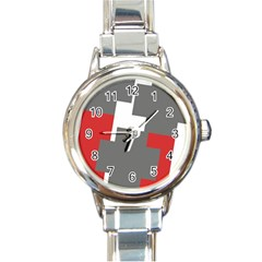 Cross Abstract Shape Line Round Italian Charm Watch