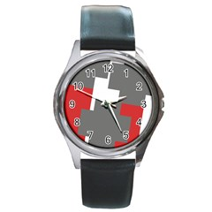 Cross Abstract Shape Line Round Metal Watch