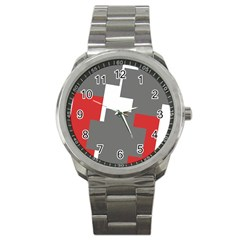 Cross Abstract Shape Line Sport Metal Watch