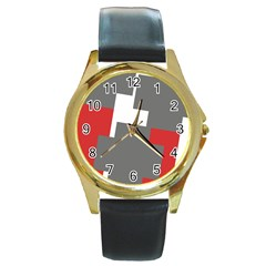 Cross Abstract Shape Line Round Gold Metal Watch