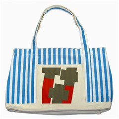 Cross Abstract Shape Line Striped Blue Tote Bag