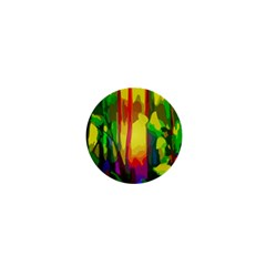 Abstract Vibrant Colour Botany 1  Mini Buttons