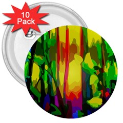 Abstract Vibrant Colour Botany 3  Buttons (10 Pack)