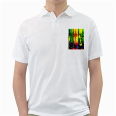 Abstract Vibrant Colour Botany Golf Shirts